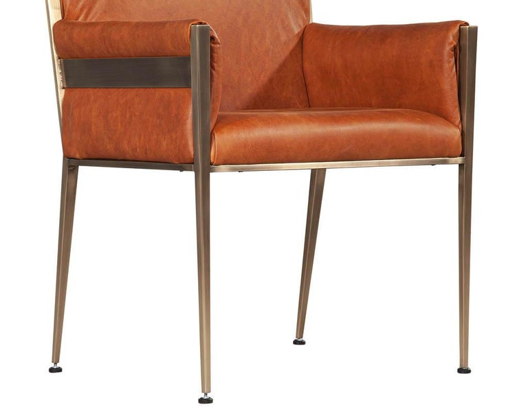 Set of 4 Custom Modern Leather Dining Chairs Cognac Leather For Sale 8
