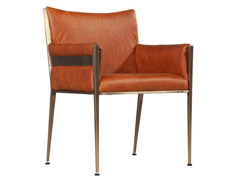 Set of 4 Custom Modern Leather Dining Chairs Cognac Leather For Sale 9