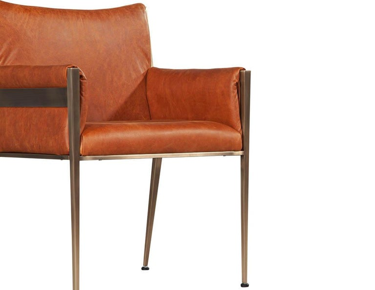 Set of 4 Custom Modern Leather Dining Chairs Cognac Leather For Sale 10