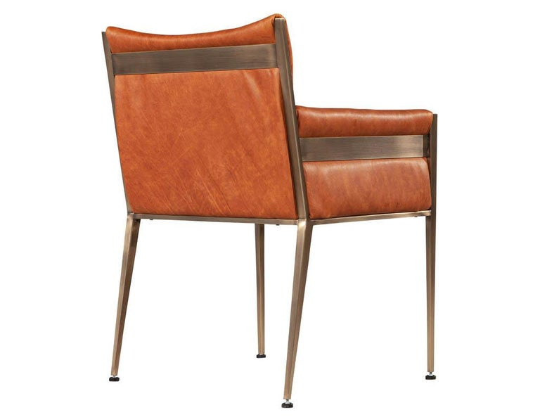 Set of 4 Custom Modern Leather Dining Chairs Cognac Leather For Sale 11