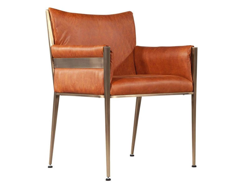 Set of 4 Custom Modern Leather Dining Chairs Cognac Leather For Sale 12