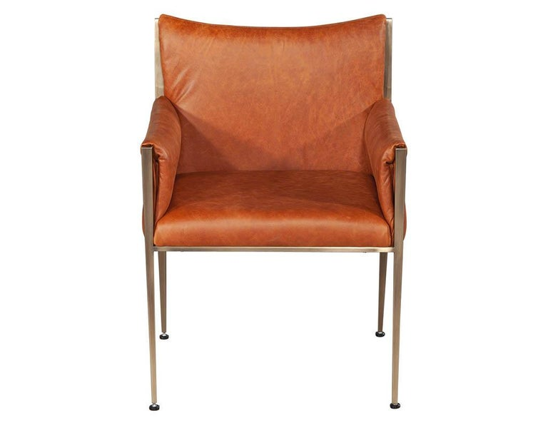 Canadian Set of 4 Custom Modern Leather Dining Chairs Cognac Leather For Sale