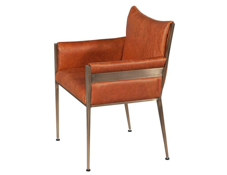 Set of 4 Custom Modern Leather Dining Chairs Cognac Leather In Excellent Condition For Sale In North York, ON