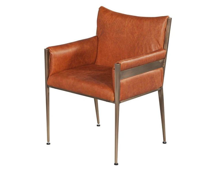 Contemporary Set of 4 Custom Modern Leather Dining Chairs Cognac Leather For Sale