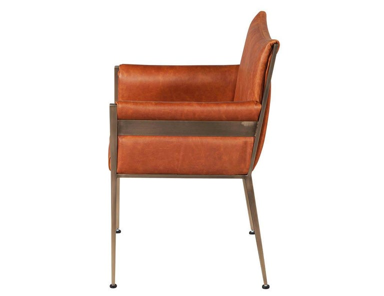 Brass Set of 4 Custom Modern Leather Dining Chairs Cognac Leather For Sale