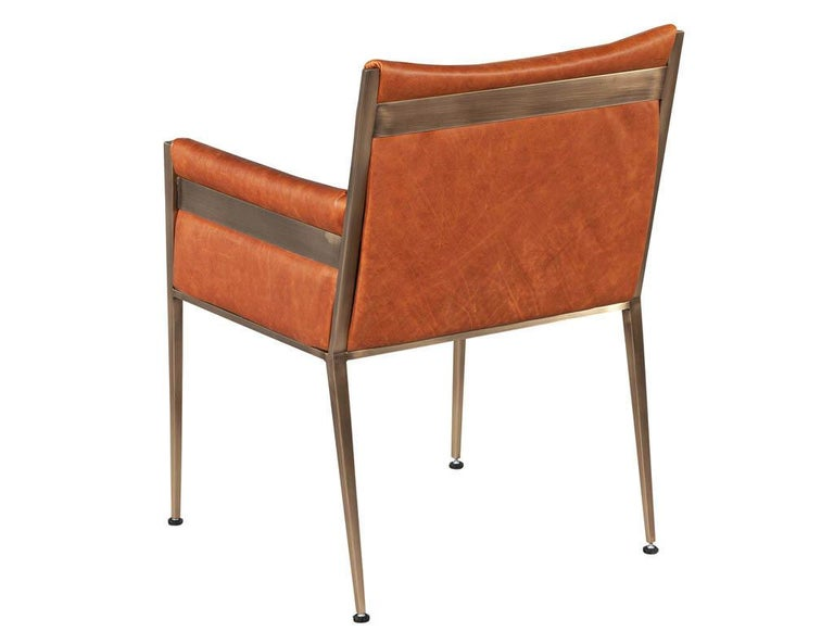 Set of 4 Custom Modern Leather Dining Chairs Cognac Leather For Sale 1