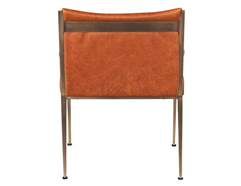 Set of 4 Custom Modern Leather Dining Chairs Cognac Leather For Sale 2