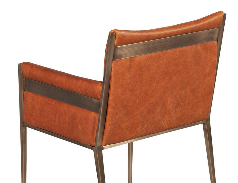 Set of 4 Custom Modern Leather Dining Chairs Cognac Leather For Sale 3