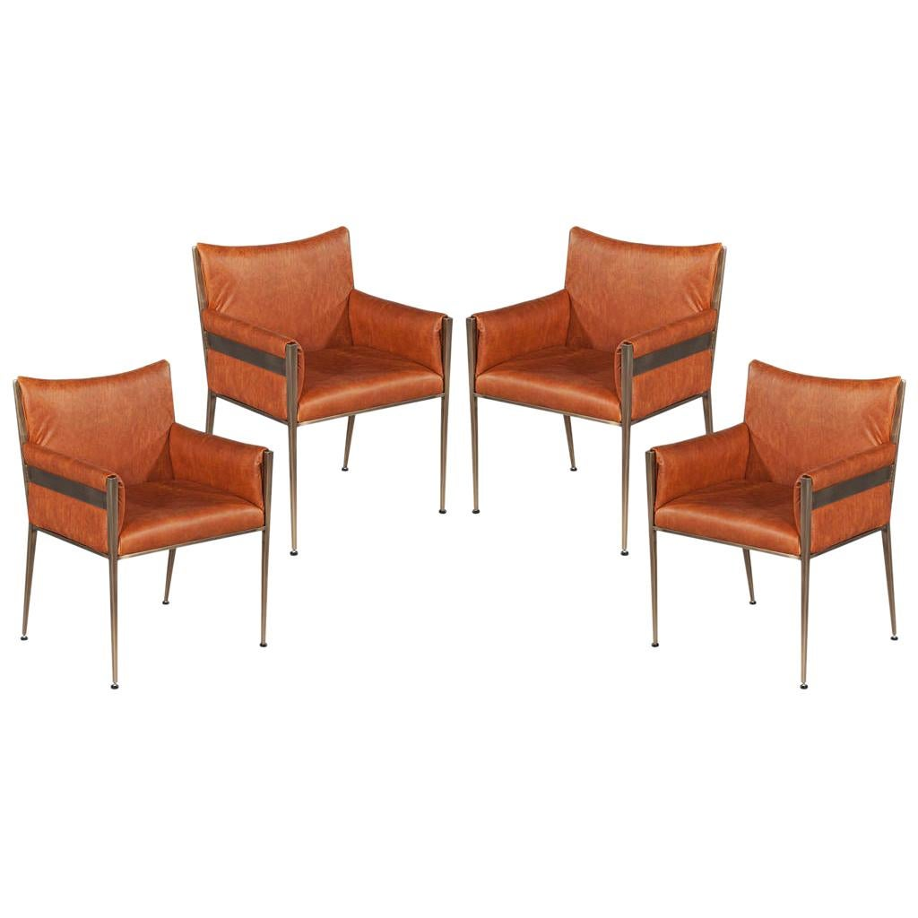 Set of 4 Custom Modern Leather Dining Chairs Cognac Leather