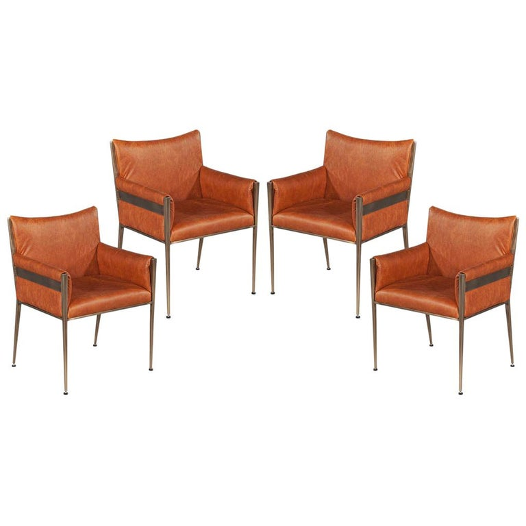 Set of 4 Custom Modern Leather Dining Chairs Cognac Leather For Sale