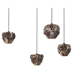 Set of 4 Danish Ceramic Pendants by Bodil Marie Nielsen
