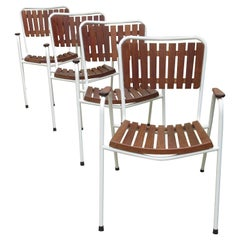 Set of 4 Danish Daneline Teak Stacking Garden Chairs
