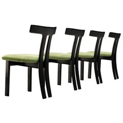 Set of 4 Danish Dining Chairs in Black Lacquered Frames and Green Seats
