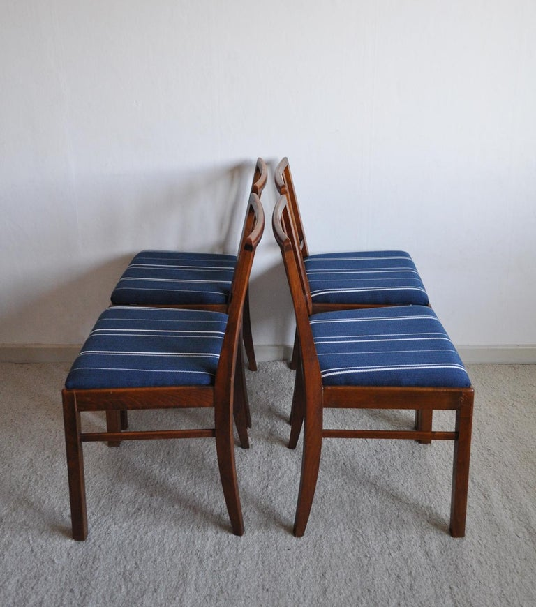 Upholstery Set of 4 Danish Dining Chairs in the Style of Jacob Kjær, 1940s For Sale