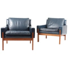 Set of 4 Danish Leather Lounge Chairs, 1960s