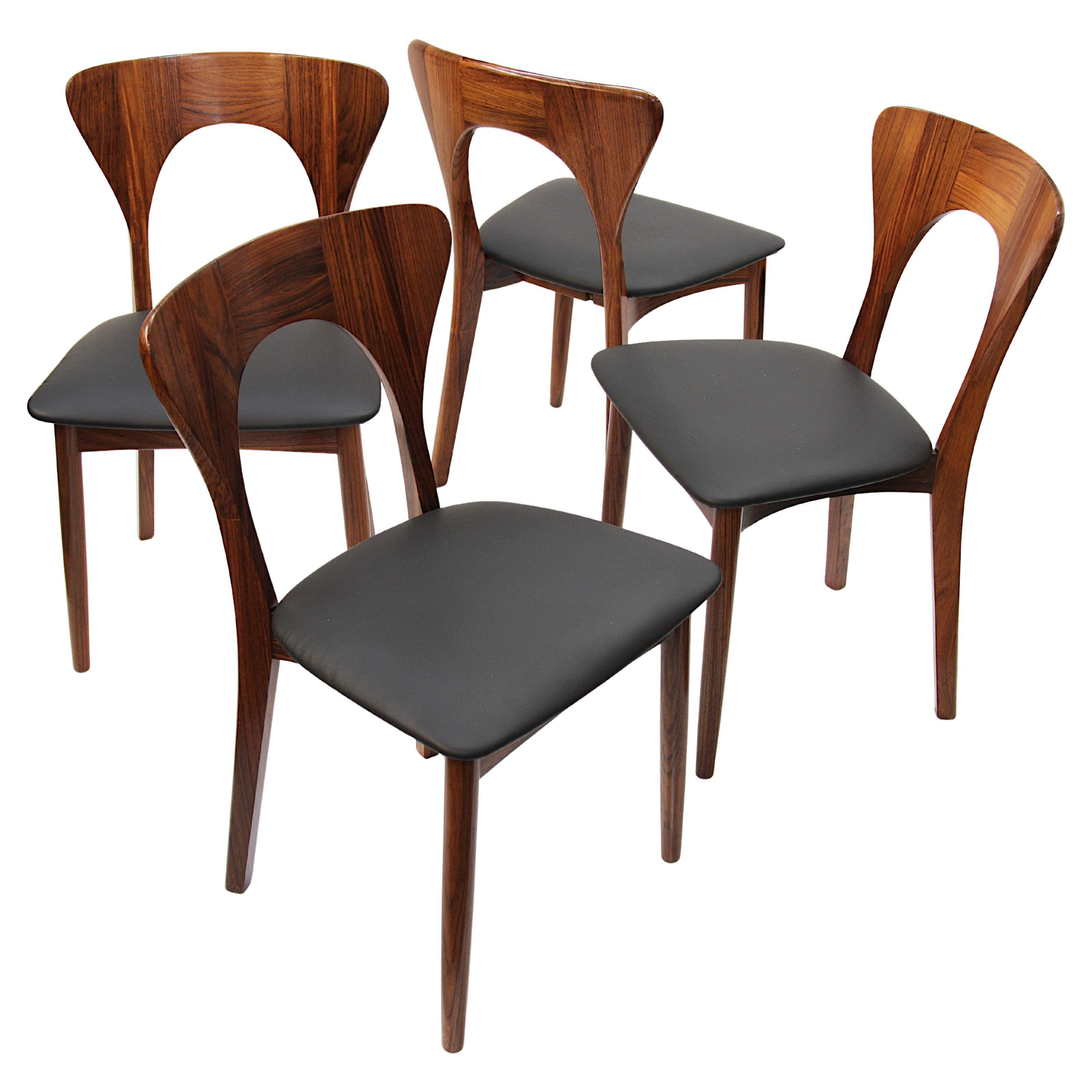 Set of 4 Danish Mid-Century Modern Rosewood Peter Chairs by Niels Koefoed