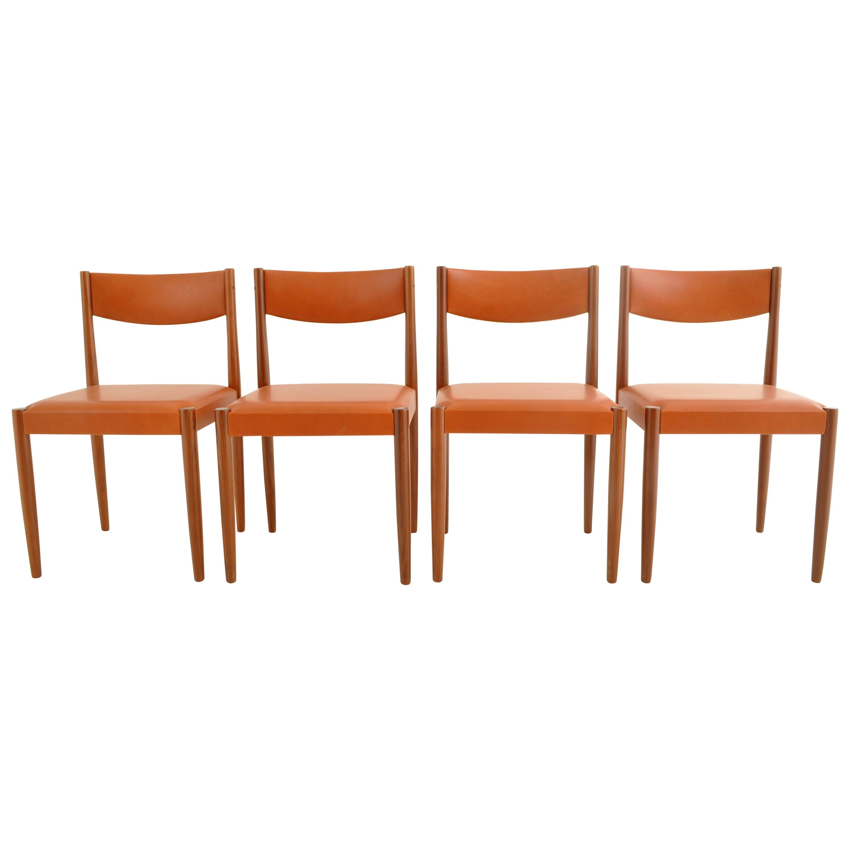 Set of 4 Danish Mid-Century Modern Teak Dining Chairs New Leather, 1960s