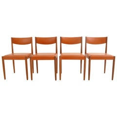 Set of 4 Danish Mid-Century Modern Teak Dining Chairs New Leather, 1960s