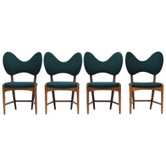 "Set of 4 Danish Modern ""Butterfly"" Chairs by Eva & Nils Koppel, 1950s"