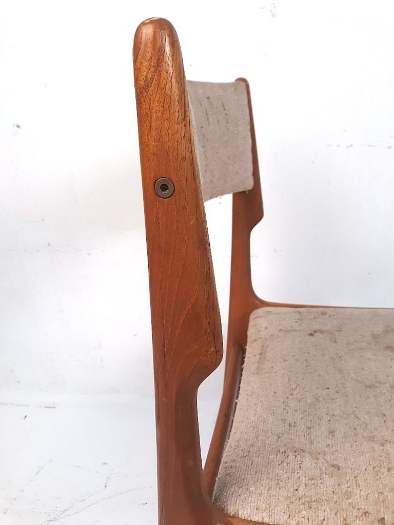 Upholstery Set of 4 Danish Modern Dining Chairs For Sale