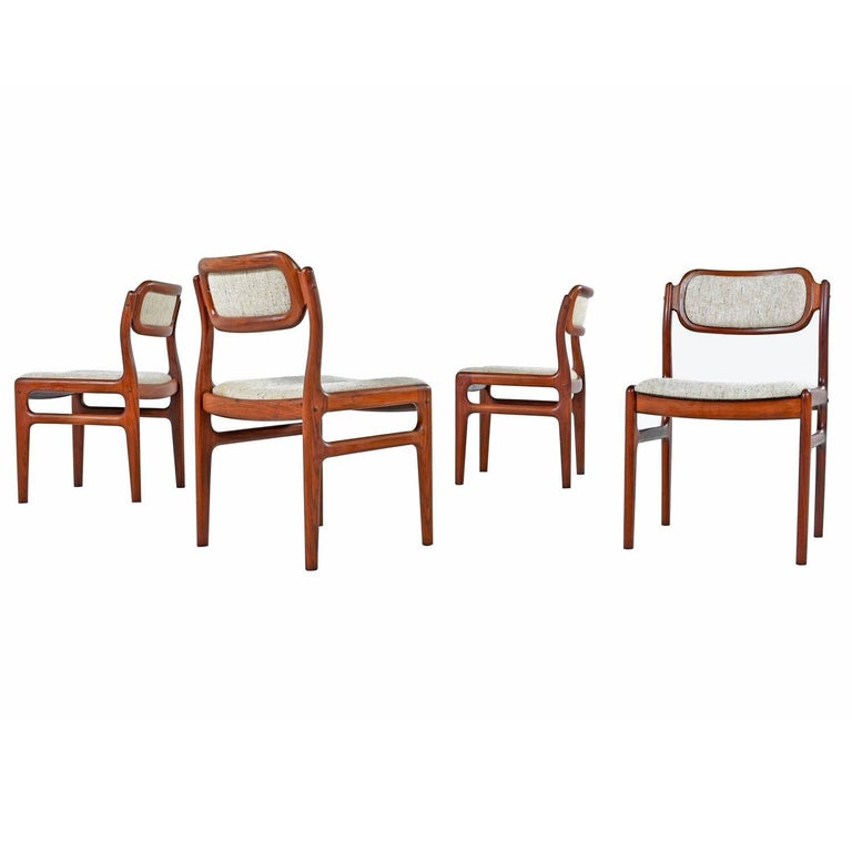 Set of Four Danish Modern Solid Rosewood Dining Chairs
