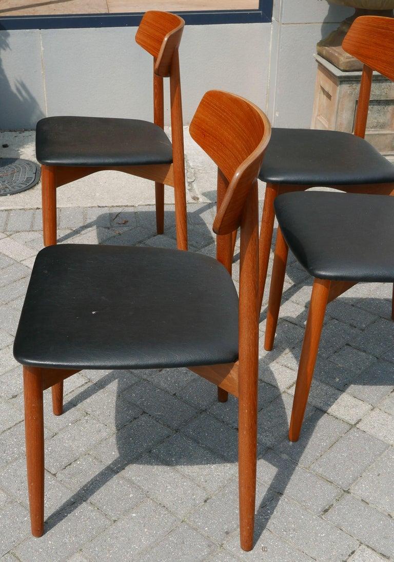 Mid-Century Modern Set of 4 Danish Modern Teak Chairs by Harry Østergaard