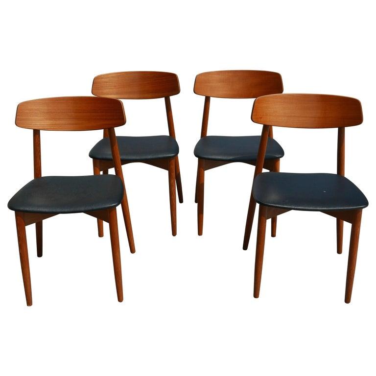 Set of 4 Danish Modern Teak Chairs by Harry Østergaard