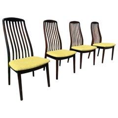 Set of 4 Danish Modern Teak Sculptural Dining Chairs by Dyrlund