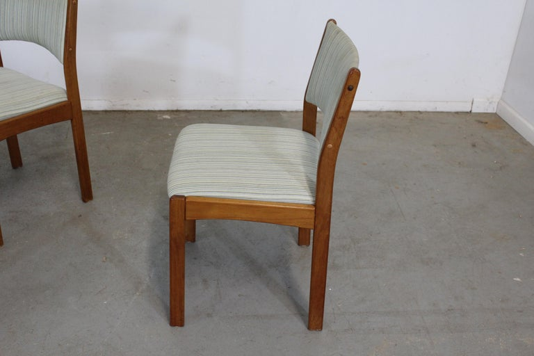 Upholstery Set of 4 Danish Modern Teak Side Dining Chairs For Sale