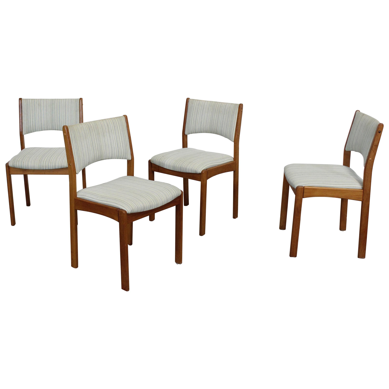 Set of 4 Danish Modern Teak Side Dining Chairs