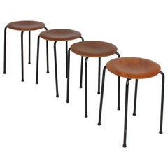 Set of 4 Danish Modern Teakwood Stacking Stools or Tables
