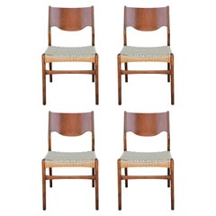 Set of 4 Danish or Swedish Wood and Woven Cord Seat Dining Chairs