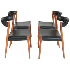 Set of 4 Danish Teak and Leather Mid-Century Modern Dining Chairs