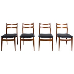 Set of 4 Danish Teak Dining Chairs, 1960s, New Faux Leather Upholstery