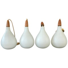 Set of 4 Danish White Cased Glass and Teak Pendants