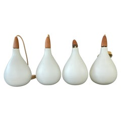 Set of 4 Danish White Cased Glass Pendants