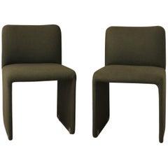 Set of 4 Dark Green Chairs, circa 1960