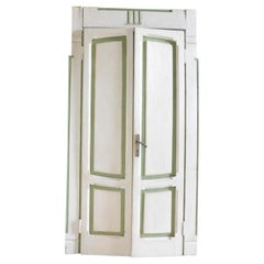 Set of 4 Deco Lacquered Doors, White / Green, Different Size, Milan 1920