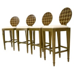 Set of 4 Decorated Memphis Style Bar Stools New Upholstery