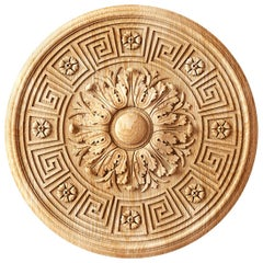 Set of 4 Decorative Hand Carved Wood Rosettes for Interior