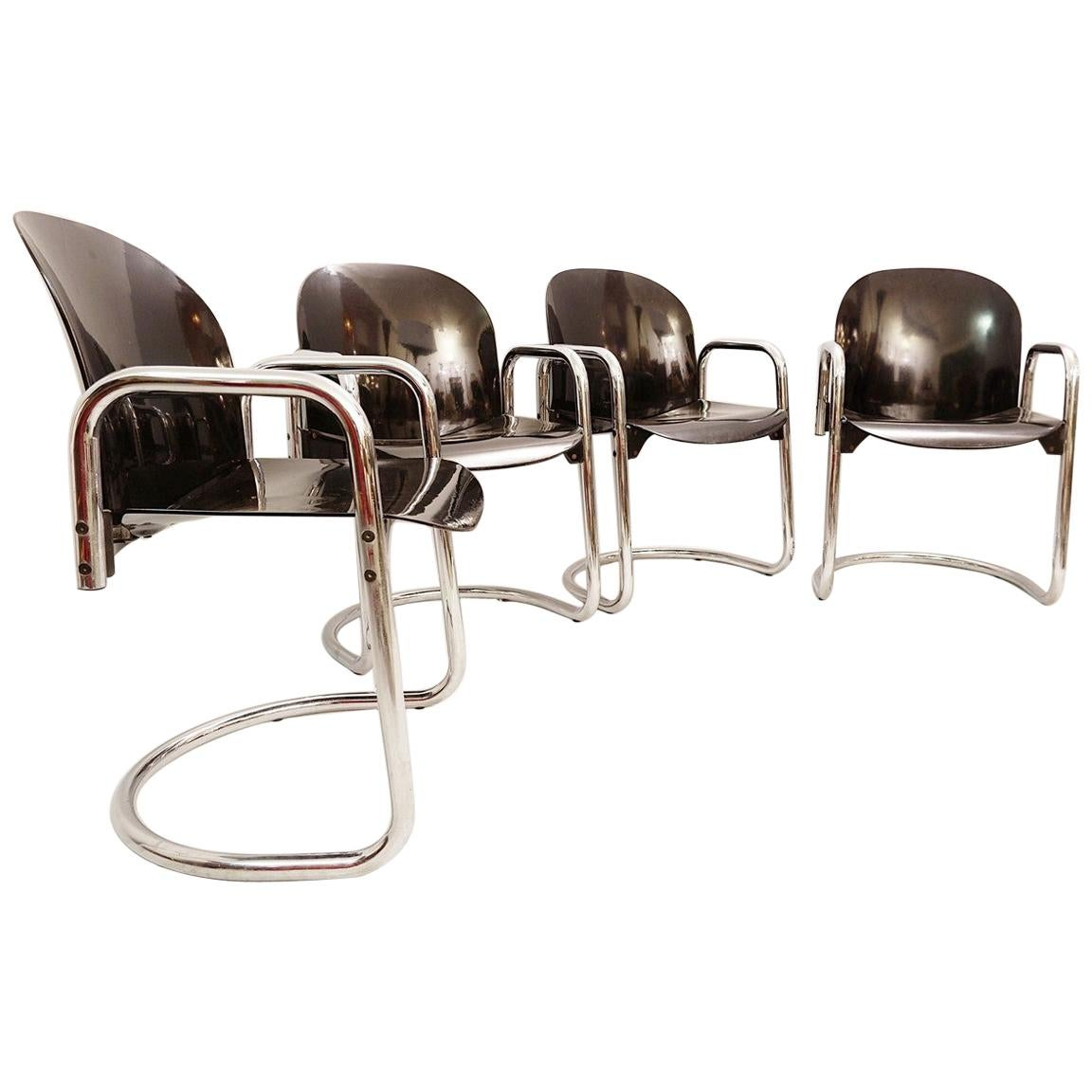 Set of 4 'Dialogo' Chromed Dining Chairs by Tobia Scarpa for B&B Italia, 1970s