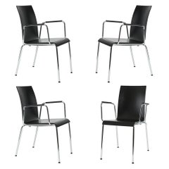Set of 4 Dietiker Poro L Minimalist Dining Chairs with Arms, Made in Switzerland