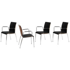 Set of 4 Dietiker Poro L Swiss Chairs, Brown with Black Upholstery, in Stock