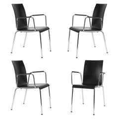 Set of 4 Dietiker Poro S Minimalist Dining Chairs with Arms, Made in Switzerland
