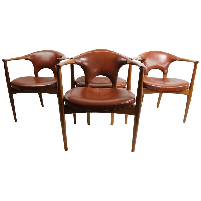 4 Dining Room Chairs For Sale: Set Of 4 Dining Armchairs Attributed To Gunlocke For Sale