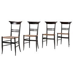 Set of 4 Dining Chairs, Black Frame and Cane Seat