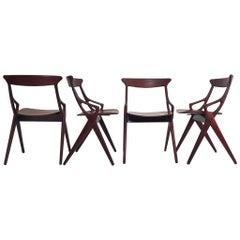 Set of 4 Dining Chairs by Arne Hovmand Olsen for Mogens Kold Denmark, 1959