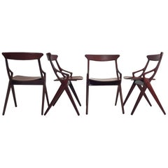 Set of 4 Dining Chairs by Arne Hovmand Olsen for Mogens Kold, Denmark, 1959