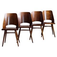 Set of 4 Dining Chairs by Radomir Hofman for TON, Model 514, Beech Veneer