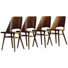 Set of 4 Dining Chairs by Radomir Hofman for TON, Model 514, Beech Veneer